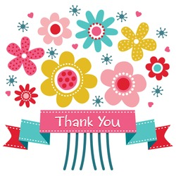 Vector thank you card with retro style flower posy and vintage ribbon banner. Also great for birthday, thank you, social media, web banner.