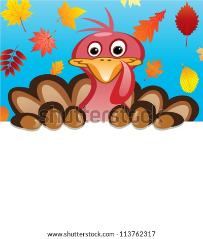 vector thanksgiving day design of turkey holding blank sheet of paper for your text