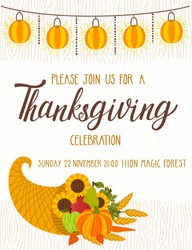Vector Thanksgiving invitation template. Invite for harvest dinner. Autumn background with wooden texture, garland of lantern, cornucopia and hand written text.