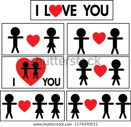 Vector that shows different forms of love. Between male and female, male to male, or female to female