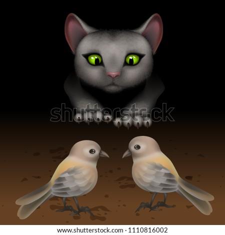vector the cat hunts birds