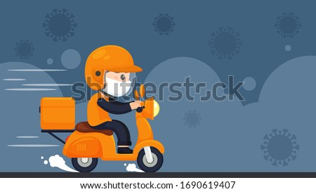 Vector The food delivery staff ride motorcycles to deliver food during a confinement in the home from the corona virus.