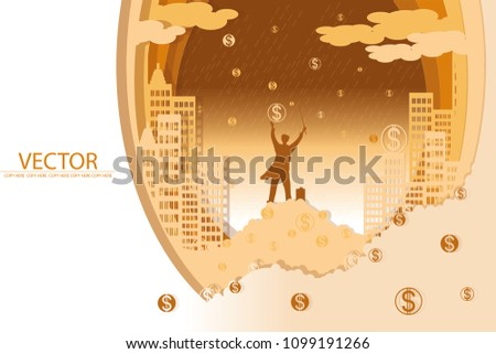 vector the man stand on a lot of money on money rain background.wizard holding the magic wand.bussiness dream