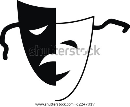 theatre mask clipart. Vector theatrical masks