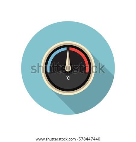Vector thermometer icon. Temperature gauge icon