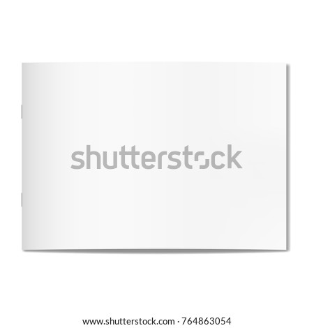 Vector thin horizontal realistic closed book, journal or magazine cover mockup with sheet of A4. Blank front or cover page of sketchbook or notepad on staples template for catalog, brochure design