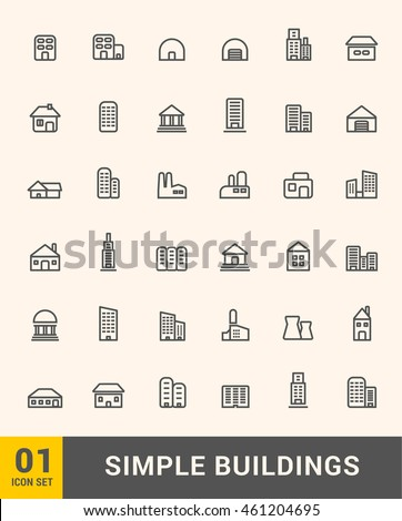 Vector thin icons design set. Modern simple line icons. Ultra thin buildings icons on white background.
