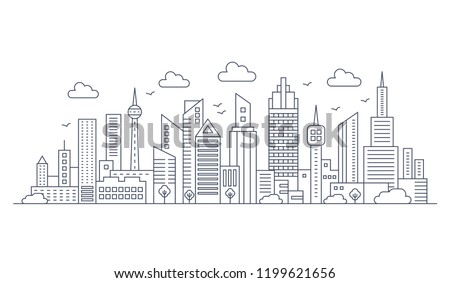 Vector thin line city landscape. Panorama urban modern city landscape with high skyscrapers.