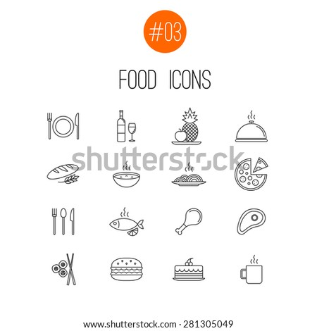 vector thin line food icons