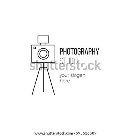 Vector thin line icon, camera silhouette. Logo template illustration for photographer, photography studio, shop or school. Black on white isolated symbol. Simple mono linear modern design.
