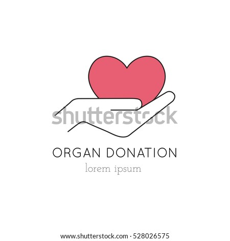Vector thin line icon, heart in hand, logo template illustration. Part of Organ Donation set. Colored pictogram, healthcare medicine isolated symbol. Simple mono linear modern design.