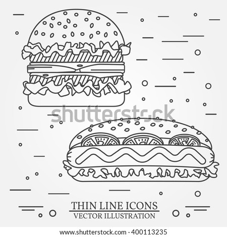 vector thin line icon  hot dog