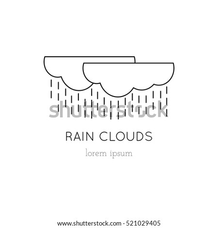 Vector thin line icon, rain clouds, element for logo illustration. Black on white pictogram, weather isolated symbol. Simple mono linear modern design.