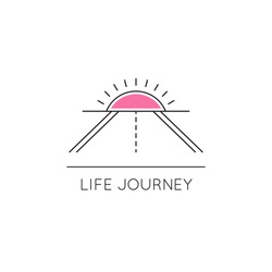 Vector thin line icon, road and sun above the horizon. Metaphor of achieving goals and life journey. Colored isolated symbol. Simple mono linear modern design.