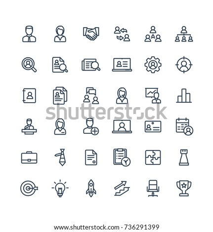 Vector thin line icons set and graphic design elements. Illustration with business and management outline symbols. Marketing research, strategy, work people, career, job interview linear pictogram