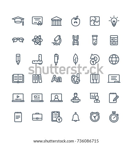 vector thin line icons set and...