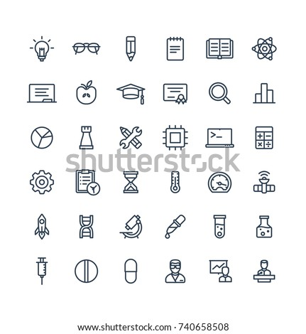 Vector thin line icons set and graphic design elements. Illustration with science and laboratory research outline symbols. Idea bulb, dna code, medical development, conference, atom linear pictogram