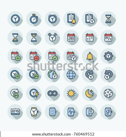 Vector thin line icons set and graphic design. Illustration with date, time outline symbols. Alarm clock, smart watch, stopwatch, timer, organizer, planning and management flat color pictogram