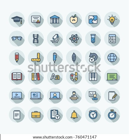 Vector thin line icons set and graphic design. Illustration with education, online learning, think outline symbols. Book, microscope, calculator, pen, elearning, teacher flat color pictogram #760471147