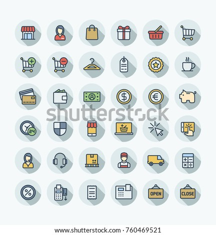 Vector thin line icons set and graphic design. Illustration with shopping, e-commerce outline symbols. Internet market, store, delivery, gift box, bag, payment, pay per click flat color pictogram