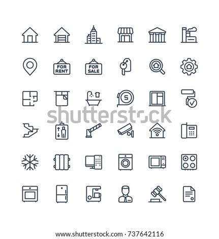 Vector thin line icons set, graphic design elements. Illustration with real estate outline symbols. Residential properties, apartments, store, office agency, rent room, bathroom, lift linear pictogram