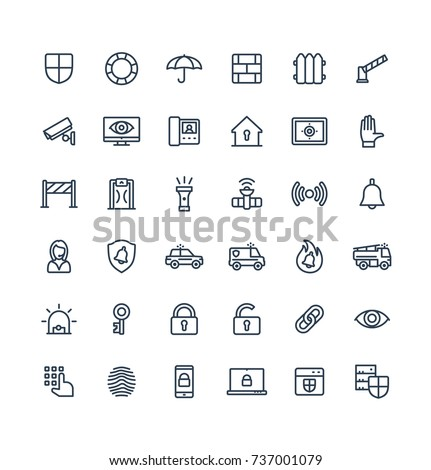 Vector thin line icons set, graphic design elements. Illustration with security, cyber safety outline symbols. Protection, brick wall, camera, video monitor, home lock, control access linear pictogram