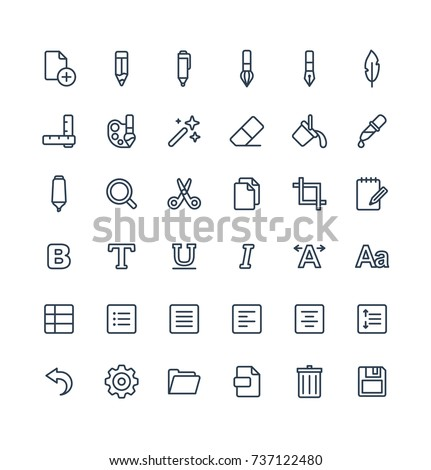Vector thin line icons set, graphic design elements. Illustration with text edit, Graphic tools outline symbols. Pencil, eraser, new file, brush, pen, scissors, bold, italic font linear pictogram
