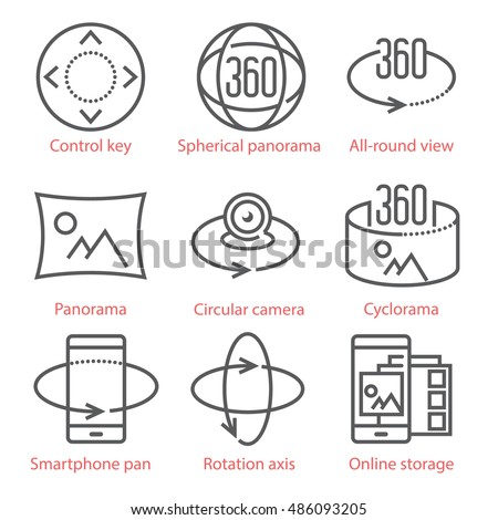 Vector thin line icons set with 360 Degree View and, Panorama tools and applications. For infographics and UX UI mobile kit.