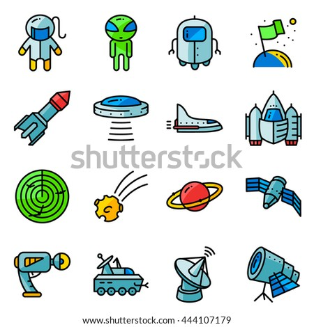vector thin simply space icons