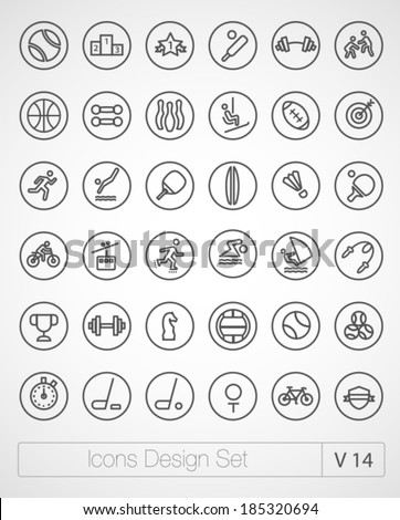 Vector thin sport icons design set. Moder simple line icons. Ultra thin icons on white background. Volume 14