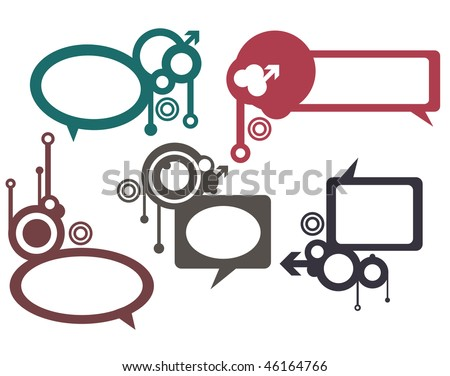 Vector Thought bubbles, speech bubbles, text clouds or baloons separate, white background.