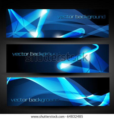 vector three blue abstract eps10 banner set three