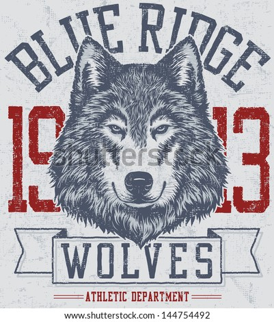 Vector three color retro wolf mascot athletic design complete with wolf head mascot illustration, vintage athletic fonts and matching textures (all on separate layers, of course).