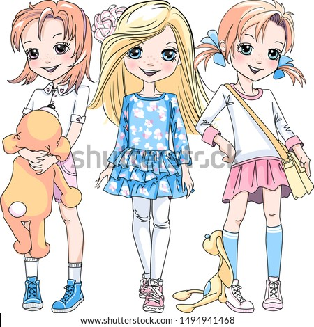 Vector Three cute blond and redhead girls in dresses, shorts and sneakers
