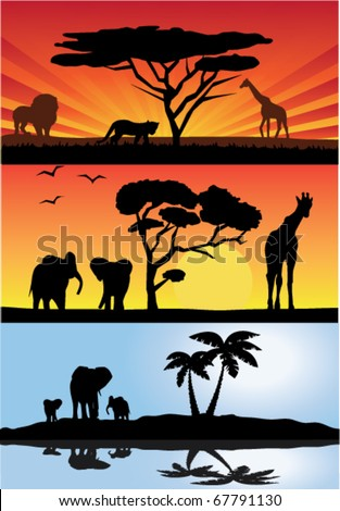 vector three different african landscapes with animals