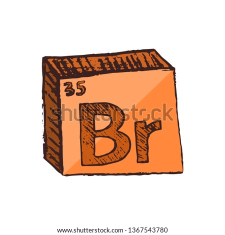Vector three-dimensional hand drawn chemical orange symbol of bromine with an abbreviation Br from the periodic table of the elements isolated on a white background.