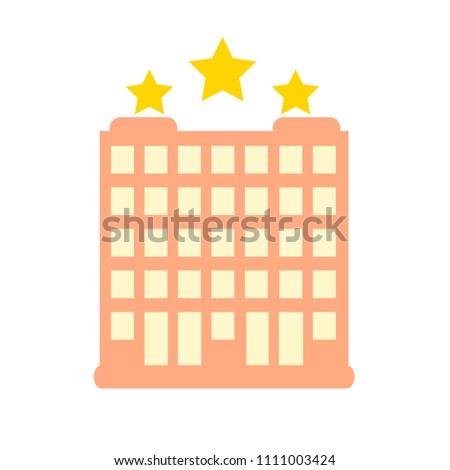vector three stars hotel building illustration, hotel sign symbol