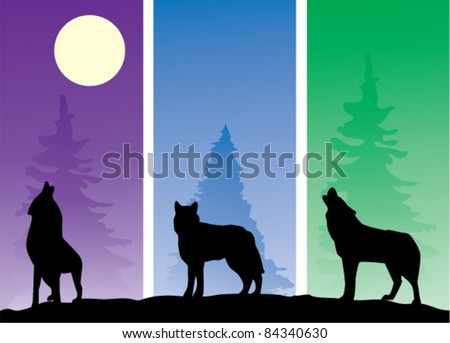 vector three wolves in the