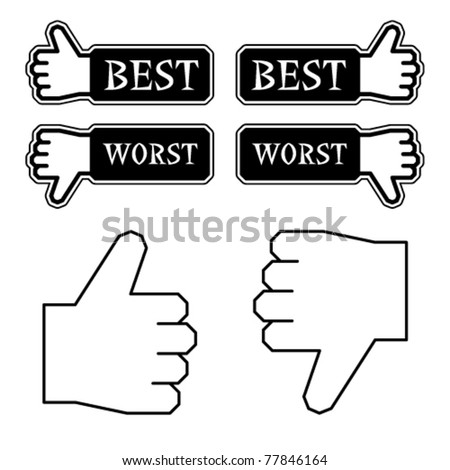 vector thumb best worst labels