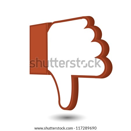 Vector thumb down isolated on white. Eps10
