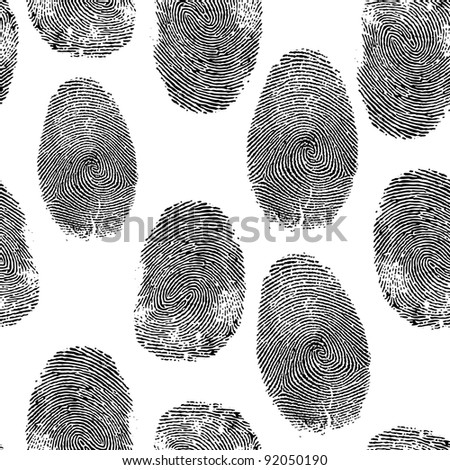 Vector thumb finger print background Fingerprint seamless wallpaper Crime dactylography illustration