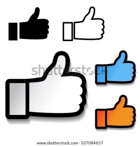 Vector thumb up hand symbol