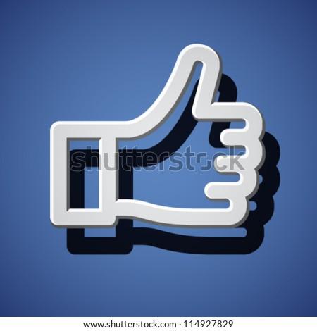 vector thumb up white hand symbol