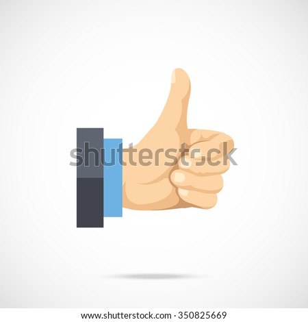 Vector thumbs up icon. Flat thumbs up icon. Flat design vector illustration for web banner, web and mobile, infographics. Realistic thumbs up icon graphic. Vector icon isolated on gradient background