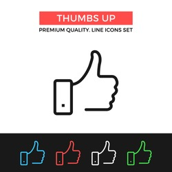 Vector thumbs up icon. Like concept. Premium quality graphic design. Modern signs, outline symbols collection, simple thin line icons set for websites, web design, mobile app, infographics