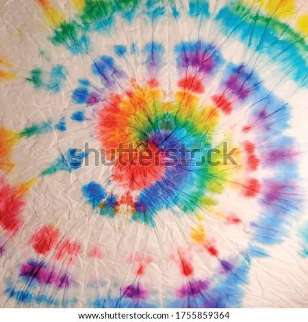 Vector Tie Dye. Hippie Multicolor Print. Circle Spiral Swirl. Rainbow Texture. Rainbow Tye Dye Swirl. Rainbow Dyed Pattern. Rainbow Spiral Dyed Print. Spiral Dirty Art Circle. Spiral Old Background