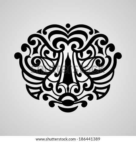 vector tiger face tattoo sketch Polynesian tattoo style