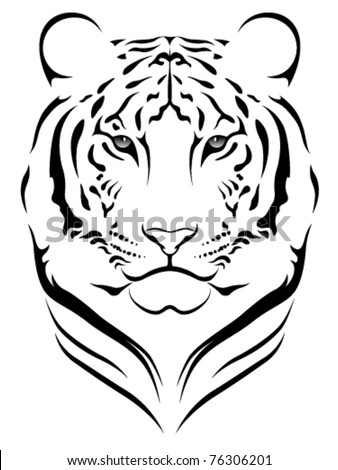 Vector tiger, tattoo