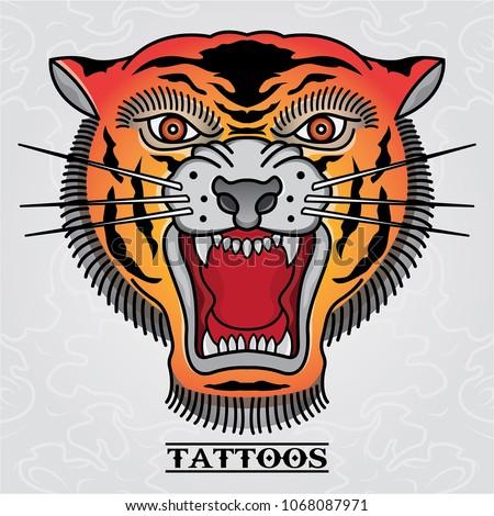 vector tiger tattoo old skull
