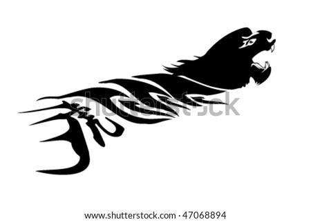 stock vector : vector tiger tattoo with chinese character for tiger